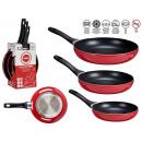 set of 3 pans 20-24-28 cm red