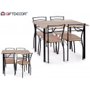 wholesale furniture: table set 4 wooden chairs 3d black legs
