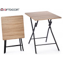 small wood-colored folding table black pat