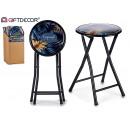 stool tropisk svart glans pvc-vikning