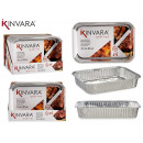 set of 4 medium rectangular aluminum trays