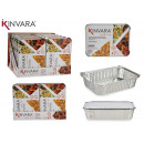 set of 3 deep aluminum trays with large lid