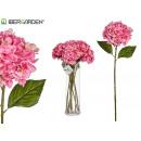 branche d'hortensia rose