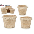 set 3 round straw flower pots with hair