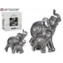 couple d'éléphants en résine argent