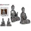 Bouddha assis en résine argentée 2 assorti 18 cm