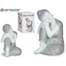 Großhandel Figuren & Skulpturen: Seite sitzen Buddha Harz bl / große Teller 2su