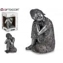 Bouddha assis en résine d'argent 2su grand