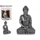 Bouddha assis en résine grand argent