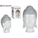 big buddha head resin white / silver