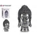 grosse tête de bouddha en résine argentée