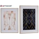 wholesale Decoration: wood canvas, 2 times assorted geometric 12