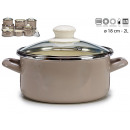 casserole with glass lid 18cm gray