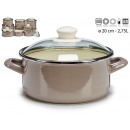 casserole with glass lid 20cm gray
