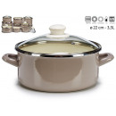 casserole with glass lid 22cm gray