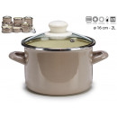 pot with glass lid 16cm gray