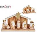 led golden terracotta nativity set