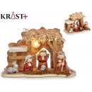 red terracotta nativity with 5 figures