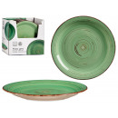 plate plain green stoneware with edge