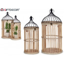 set of 2 round natural wood cages