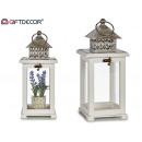 ingrosso Decorazioni: lanterna quadrata lanterna in legno bianco