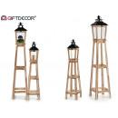 grossiste Décoration: set de 2 lanternes en bois à support naturel