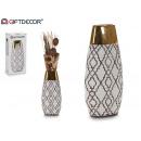 wholesale Flowerpots & Vases: golden ethnic oval ceramic vase