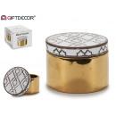 groothandel Fournituren & naaigerei: gouden etnische ronde keramische juwelendoos