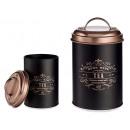schwarzer Metalltopf Kupferdeckel Tee