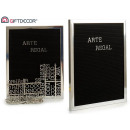 black panel frame silver letters silver 144