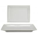37c rechteckiges Tablett aus weißem Porzellan