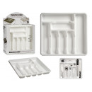 7-compartment white plastic cutlery tray