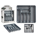 7 compartments gray plastic cutlery tray