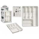 6-compartment plastic cutlery tray white