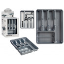6 compartments gray plastic cutlery tray