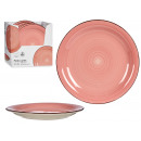 assiette grès uni rose avec bordure
