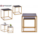 set di 2 tavoli ausiliari in metallo a forma di cu