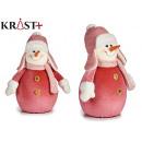 figure snowman pink suit large 40 cm