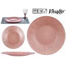 assiette verre 27cm rose pastel