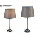 steel table lamp with gray wood