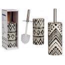 square ethnic ceramic toilet brush holder, 2 times