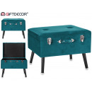 stool Large suitcase velvet green