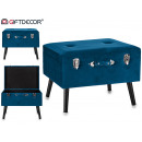 stool Large suitcase velvet blue