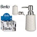 ceramic soap dispenser embossed white