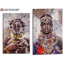 wholesale Jewelry & Watches: African woman canvas necklace, 2 times assorted