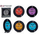 vinyl glass clock, 4 colors times assorted