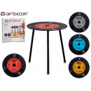 black metal disco leg table, colors 4 times assort