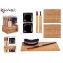 6-teiliges Sushi-Set aus schwarzer Bambuskeramik