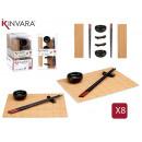 Großhandel Sonstige: Sushi-Set aus Keramik und Bambus 8-teilig