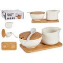 Set aus Keramik Zuckerdose und Milchkännchen und b
